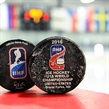 GRAND FORKS, NORTH DAKOTA - APRIL 19: Official game pucks during preliminary round action at the 2016 IIHF Ice Hockey U18 World Championship. (Photo by Matt Zambonin/HHOF-IIHF Images)