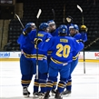 GRAND FORKS, NORTH DAKOTA - APRIL 15: Team Sweden celebrates after a first period goal against Latvia during preliminary round action at the 2016 IIHF Ice Hockey U18 World Championship. (Photo by Matt Zambonin/HHOF-IIHF Images)