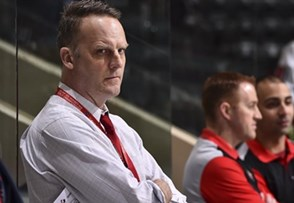 GRAND FORKS, NORTH DAKOTA - APRIL 15: Canada assistant coach Jarrod Skalde looks on from the bench during warm-up prior to preliminary round action against Denmark at the 2016 IIHF Ice Hockey U18 World Championship. (Photo by Minas Panagiotakis/HHOF-IIHF Images)