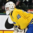 GRAND FORKS, NORTH DAKOTA - APRIL 16: Sweden's Filip Larsson #30 looks on during preliminary round action against the U.S. at the 2016 IIHF Ice Hockey U18 World Championship. (Photo by Minas Panagiotakis/HHOF-IIHF Images)